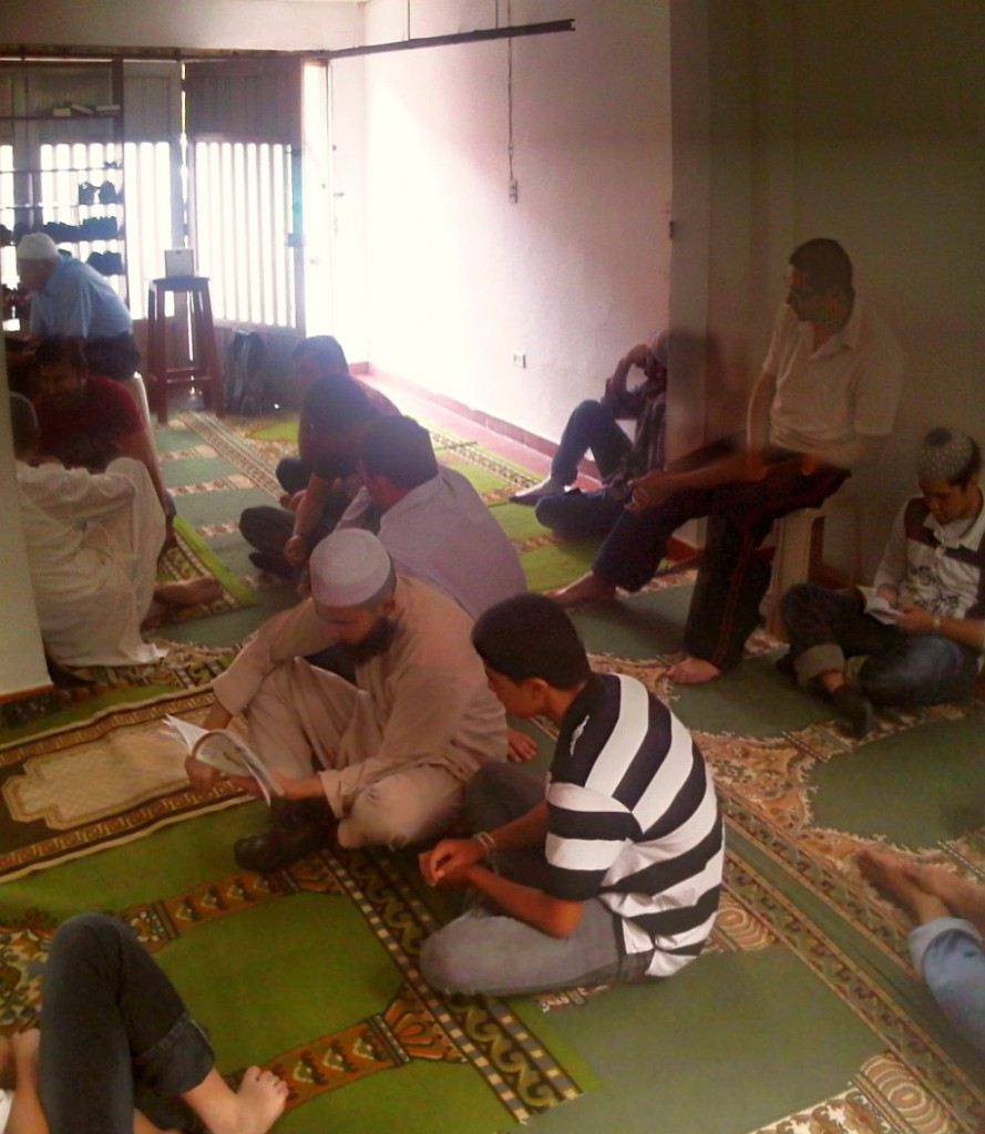 Worshippers filling up Masjid in Medellin Colombia for Salat al Jumah Friday Prayer 2014-03-21