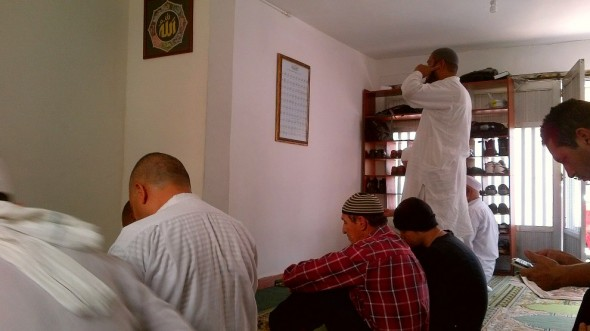 Brother Azar makes the First Call to Prayer before the Jumah Qhutbah in Medellin Colombia Friday March 28 2014