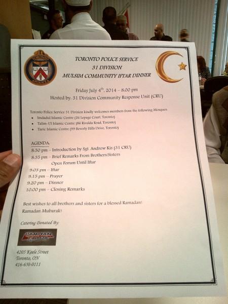 31 Division Community Response Unit, Muslim Community Iftar Dinner - 000 Agenda