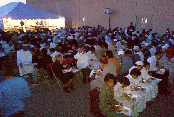 Iftar and Lecture Program, Islamic Institute of Toronto, Saturday July 09 2014 - Iftar Dinner for Brothers in Parking Lot
