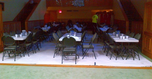 Pape Cami - Preparing Iftar Dinner Tables - Back of Main Prayer Area