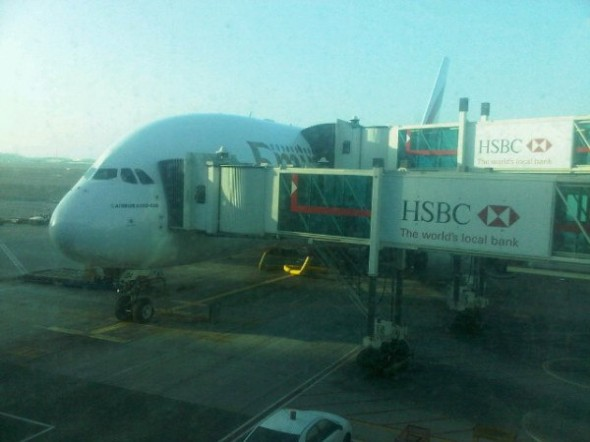 Emirates EK 0242 - This Airbus has double deck disembarking - First class above with Economy below - twitpic-com-52so1u