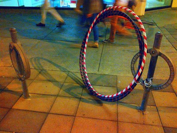 008 - Hula Hoops Locked to Bike Ring - Dundas Street West - June 24 2015