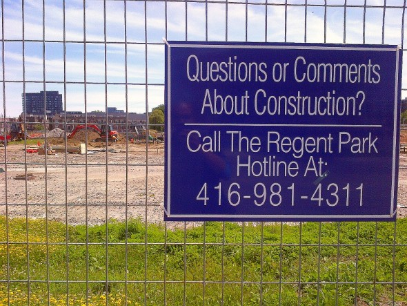 Questions or Comments About Construction Call The Regent Park Hotline At 416-981-4311