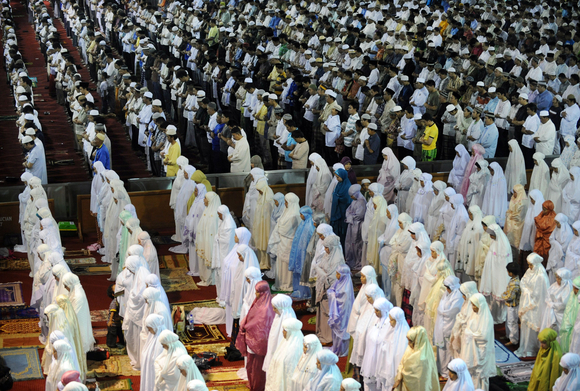 women and men pray side by side in Masjid Istilaq in Jakarta Indonesia